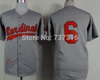Cheap Sale St. Louis Cardinals 6# Jersey Gray 2015 New Men's Baseball Jerseys Accept Mix Order