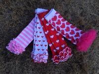 baby valentine white red heart leg warmer