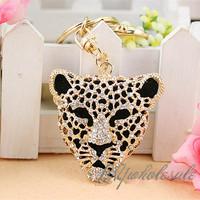 Cool Crystal Leopard Head Animal Keychain Rhinestone Metal Key Chains Ring Holder Purse Charm Car Keyrings Jewelry Accessories