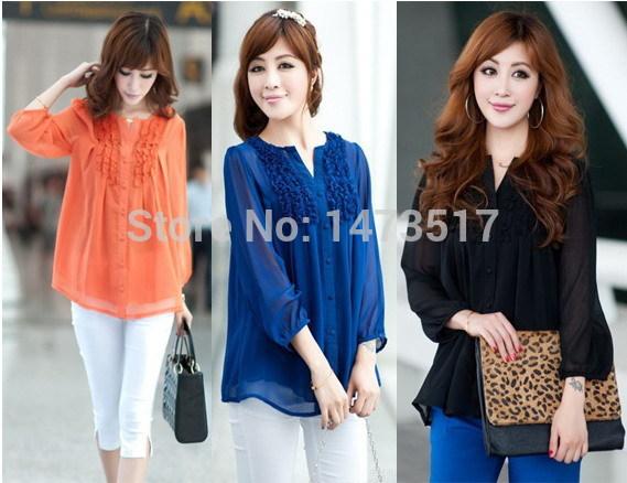 Transparente Ruffles luva camisas mulheres azul marinho laranja blusa xxxxl tamanho grande roupas femininas camisa renda blusas camisetas(China (Mainland))