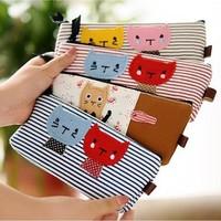Hot Sale New 1 Piece Korean Hot Sale Cute Cat Cartoon Simple Sweet Stripe Portable Pen Canvas Pencil Bag Case Pocket Pounch