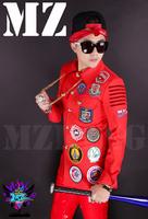 M-4XL ! Men brand new fashion DJ nightclub singer Right Zhi-long red cloth coat lapel stickers costumes clothing coat jacket