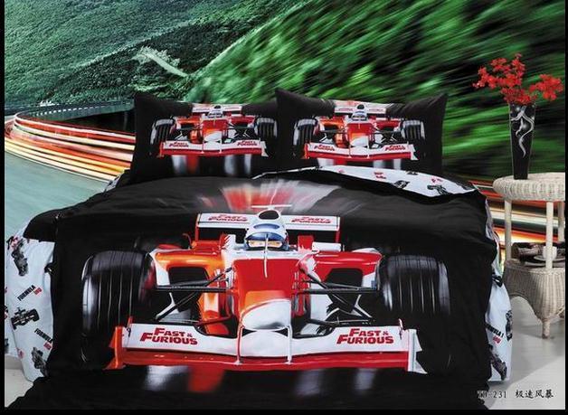 Kids racing car beds promotion achetez des kids racing car - Housse de couette voiture de course ...