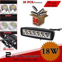 """20pcs 6"""" inch 18W LED Work Light 12V 24V IP67 SPOT FLOOD Led Light Bar For 4x4 Off Road Tractor ATV Fog Light Seckill 27W 36W"""