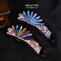 Luxury Candy Colorful Leather Pad Long Hair Clip STELLUX Stone Barrettes Women Hair Jewelry Accessories Beautyer BFS95