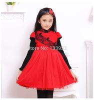 New Kids Clothes 2015 winter dresses Red Short Sleeve Woolen Girl Dress Girls Casual Dress Korea Style 5pcs/lot Wholesale DA606