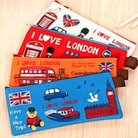 New Top Fashion Gift 2015 1pcs Retail Pen Bag Over London Oxford Cloth Zipper Pencil Change Purse Canvas Case pen bag
