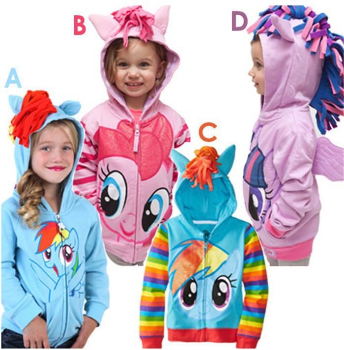 1PCS New 2015 Girls My little pony Kids Jacket Children's Coat Cute Girls Coat &Hoodies & Girls Jacket Children Clothing Cartoon(China (Mainland))