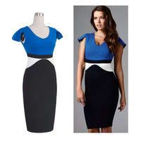 2015 New contrast color women bodycan dresses lady elegant office dress sexy V neck pencil dresses