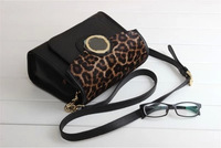 DA352 M New fashion small Leopard horsehair genuine leather 100%  messenger bag wholesale drop shipping free shipping