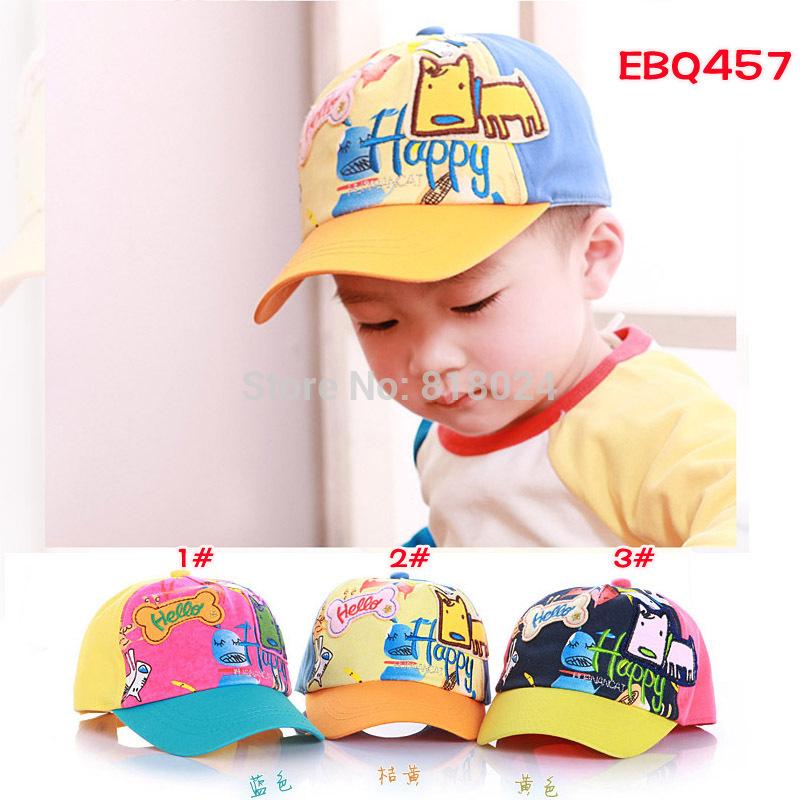 Brand New 2015 Kids Baseball Caps Baby Has & Caps Cartoon Dog Fashion Letter Sunbonnet Cap Baby Boys Girls Sun Caps for 1-4Y(China (Mainland))