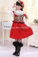 Wholesale kids girl leopard+Red Color Cotton Dress High Quality Short Sleeve Tutu Dress Free Shipping DA599