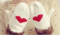 Min Order $15(mixed order)   Fashion  Women winter wool  Warm   love twist knitted gloves  6753al