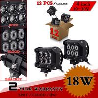 12pcs 4inch 18W CREE LED Work Light 12V 24V IP67 Adjustable Bracket For Tractor Offroad Fog Light LED Worklight Save on 27W 36W