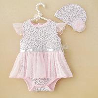 2pcs Girl Baby Newborn Kids Infant Cotton Cap Hat+Romper Bodysuit Tutu Clothing Child Outfit 0-9M Pink Leopard preschool clothes