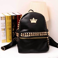 New 2015 Fashion Vintage PU Leather Women Backpack Desigual Hot Preppy Style Rivet Crown School Backpacks Black Women Bag 2 Size