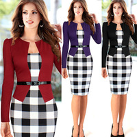 2014 Women Elegant Belted Tartan Long Sleeve Patchwork Tunic Work Business Casual Party Bodycon Pencil Sheath Dress
