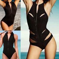 Womens Sexy Zipper Cut Out Black One Piece Swimsuit Swimwear Monokinis Bathingsuit Beachwear Free Drop Shipping Newest 2015