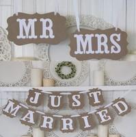 2015 vintage MR/MRS valentine's day wedding photo props rustic wedding garland /Wedding Chair banner decoracion bodas photobooth