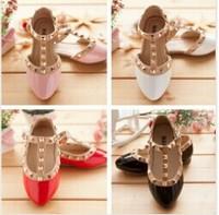 Size21-36 Children Princess Flat Shoes Children Girls Rivets Single Shoes Kids Leather Shoes Girls Shoes