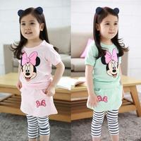 2015 new girls ' sets children's suits summer cartoon shirt + skirt baby suits casual cotton