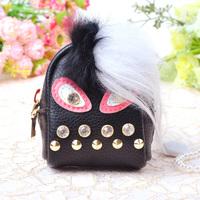 Leather fur Monster keychain Bag car Charm purse Little bag pendant rivet keychain bag pendant A004