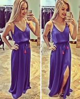 Stylish Lady Women Casual Summer Dress New Fashion Sleeveless Strap V-neck Party Long Maxi Beatch Dress b4