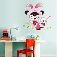 Child real diy wall clock 3d three-dimensional wall stickers clock girls walls clock