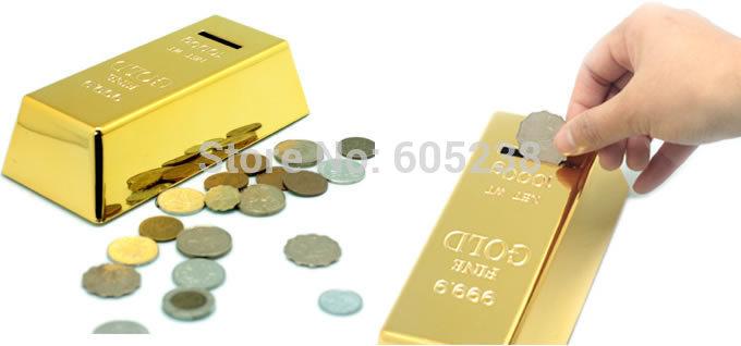 Wholesale 40 pcs / lot 999.9 Gold Bullion Bar Piggy Bank Brick Coin Bank Best Price(China (Mainland))