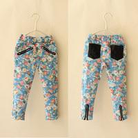 5pcs/lot 2015 spring new arrival girls fashion floral printed zipper pants kids trousers 919