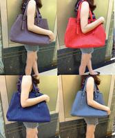 B sheepskin handmade woven bag portable one shoulder women's genuine leather handbag fashion star big bag