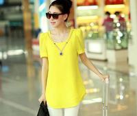 body new 2015 summer new women Europe and America loose big yards loose short-sleeved chiffon blouse shirt Puff