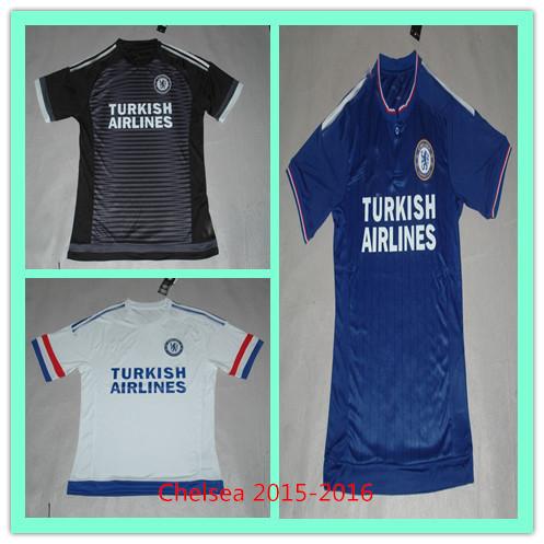 Thai Best Quality New 2016 Chelsea jerseys 2015 chelsea home away white black hazard oscar 15 16 chelsea jersey player football(China (Mainland))