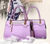 Original Designer Tote Bag Purple Leather Tote Bags Women Handbags Messenger Alligator Braided Strap Rivet Tassel Waterproof HQ