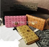 DA355 M New Fashion rivets ear of wheat  genuine leather zipper Long wallet wholesale drop shipping free shipping