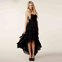 evening dress tube top asymmetrical chiffon fashion women's banquet dress long design layered dress party balck vestido de festa