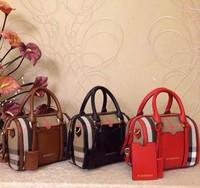 2014b women's handbag grid cloth lockable women's genuine leather handbag Small handbag one shoulder women's bags