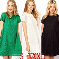 Woman Casual Dress 2015 Women Summer Dress New Lady Short Sleeve Plus Size Loose Party Princess Lace Dresses Vestidos W00292