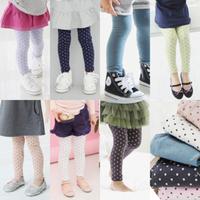 2015 autumn and winter children's plus velvet pants girls long trousers dot legging thick warm leggings for girls