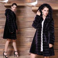 2014 New Style Women's Sheepskin Down Outwear Shearling Winter Long Fur Coat With Hood UPS/DHL FREE SHIPPING