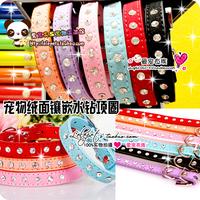 Pet collar teddy vip collar collars cat dog collapsibility pet velvet rhinestone inlaying collar