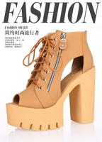 2015 women's summer shoes Super beautiful high heels women sandals platform shoes  thick heel platform female sandals size35-40
