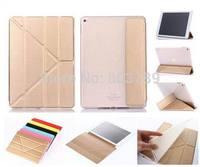 Fashion Clear TPU Back + PU Leather Transformers Case Protective Cover for iPad Air 2 Air2 iPad 6,50pcs/lot