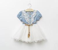 Retail 1 pcs  2015 hot sale fashion girls dresses patchwork Meshwork short-sleeve Denim Lacework leisure dress WW01140004J