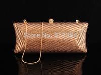 Gold Crystal Evening Bag Luxury Night Bag Swarovski Element Clutch Bag Women Evening Handbag S08203