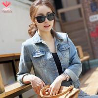 2015 Long Sleeve Vintage Ladies Blue Denim Jackets S M L XL Spring Autumn Jaqueta Jeans Feminina Jacket Women Short Coat J19201S