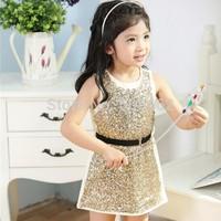 Free shipping 2015 new Sleeveless Princess Sequin Summer Dress Children's Summer Sequin Ball gowns Party Dress Kids Clothing