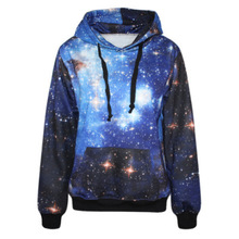 NEW 2015 spring Paisley galaxy blue women hoody space digital print Sweatshirt with hat Harajuku Pullovers Tops sport suit(China (Mainland))
