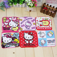Hot Sale!Children Baby Cotton Towel/Hello Kitty Cartoon Absorbent Towels/Small Square Handkerchief/pink