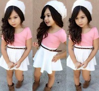 children's clothing hot-selling children's clothing girl child one-piece dress belt included fashion summer dress